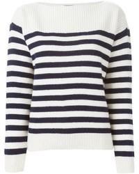 Pull à col rond à rayures horizontales blanc et bleu marine