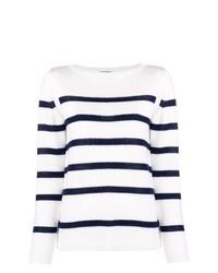 Pull à col rond à rayures horizontales blanc et bleu marine A.P.C.
