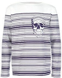 Pull à col rond à rayures horizontales blanc et bleu marine Alexander McQueen