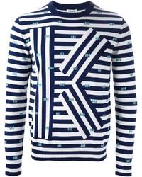Pull à col rond à rayures horizontales blanc et bleu marine Kenzo