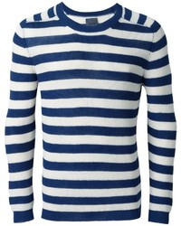 Pull à col rond à rayures horizontales blanc et bleu marine Laneus