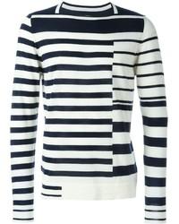 Pull à col rond à rayures horizontales blanc et bleu marine Maison Margiela