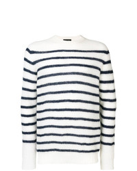Pull à col rond à rayures horizontales blanc et bleu marine Roberto Collina