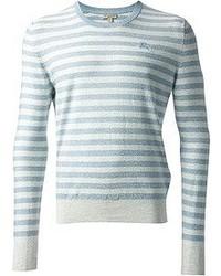 Pull à col rond à rayures horizontales blanc et bleu