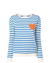 Pull à col rond à rayures horizontales blanc et bleu Chinti & Parker