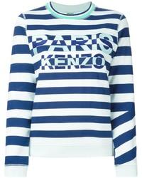 Pull à col rond à rayures horizontales blanc et bleu Kenzo