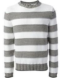 Pull à col rond à rayures horizontales blanc et noir