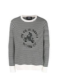 Pull à col rond à rayures horizontales blanc et noir Karl Lagerfeld