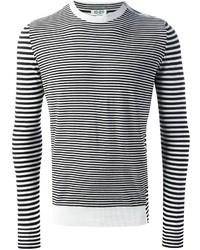 Pull à col rond à rayures horizontales blanc et noir Kenzo