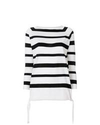 Pull à col rond à rayures horizontales blanc et noir Moncler
