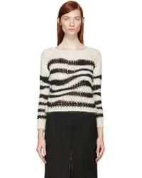 Pull à col rond à rayures horizontales blanc et noir Saint Laurent