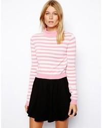 Pull à col rond à rayures horizontales blanc et rose Asos