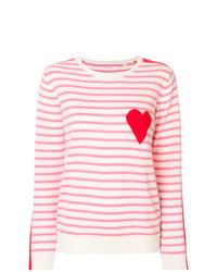 Pull à col rond à rayures horizontales blanc et rose Chinti & Parker