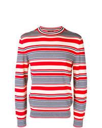 Pull à col rond à rayures horizontales blanc et rouge et bleu marine