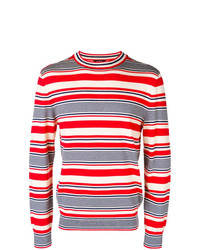 Pull à col rond à rayures horizontales blanc et rouge et bleu marine A.P.C.