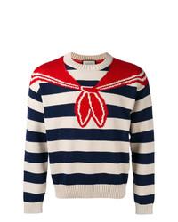 Pull à col rond à rayures horizontales blanc et rouge et bleu marine Gucci