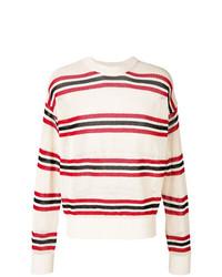 Pull à col rond à rayures horizontales blanc et rouge et bleu marine Laneus
