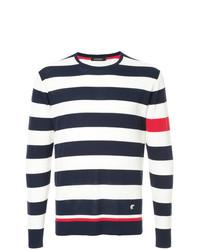 Pull à col rond à rayures horizontales blanc et rouge et bleu marine Loveless