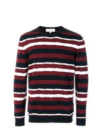 Pull à col rond à rayures horizontales blanc et rouge et bleu marine Salvatore Ferragamo