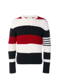 Pull à col rond à rayures horizontales blanc et rouge et bleu marine Thom Browne