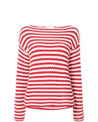 Pull à col rond à rayures horizontales blanc et rouge Mansur Gavriel