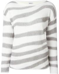 Pull à col rond à rayures horizontales blanc Armani Collezioni