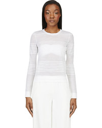 Pull à col rond à rayures horizontales blanc Calvin Klein Collection