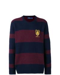 Pull à col rond à rayures horizontales bleu et rouge Polo Ralph Lauren
