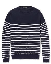 Pull à col rond à rayures horizontales bleu marine et blanc