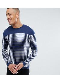 Pull à col rond à rayures horizontales bleu marine et blanc ASOS DESIGN