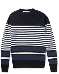 Pull à col rond à rayures horizontales bleu marine et blanc Orlebar Brown