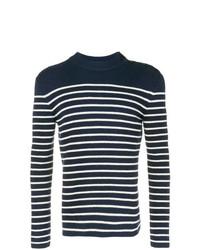 Pull à col rond à rayures horizontales bleu marine et blanc Saint Laurent