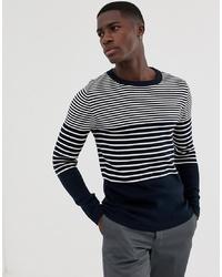 Pull à col rond à rayures horizontales bleu marine et blanc Selected Homme