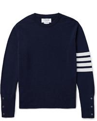 Pull à col rond à rayures horizontales bleu marine et blanc Thom Browne