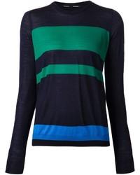 Pull à col rond à rayures horizontales bleu marine et vert Proenza Schouler