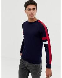Pull à col rond à rayures horizontales bleu marine Burton Menswear