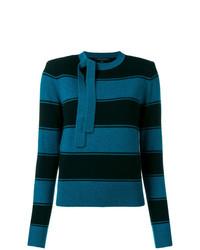 Pull à col rond à rayures horizontales bleu marine Marc Jacobs