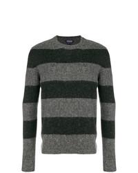 Pull à col rond à rayures horizontales gris foncé Woolrich