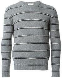 Pull à col rond à rayures horizontales gris Saint Laurent
