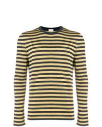 Pull à col rond à rayures horizontales jaune Saint Laurent