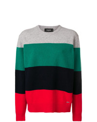Pull à col rond à rayures horizontales multicolore Dsquared2