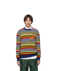 Pull à col rond à rayures horizontales multicolore Gucci