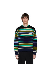 Pull à col rond à rayures horizontales multicolore Kenzo