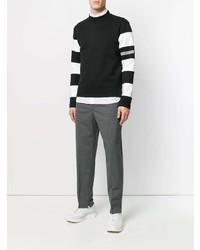 Pull à col rond à rayures horizontales noir et blanc Calvin Klein 205W39nyc