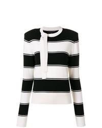 Pull à col rond à rayures horizontales noir et blanc Marc Jacobs