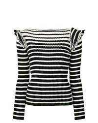 Pull à col rond à rayures horizontales noir et blanc MSGM