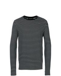 Pull à col rond à rayures horizontales noir et blanc Neil Barrett