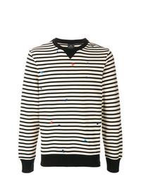 Pull à col rond à rayures horizontales noir et blanc Ps By Paul Smith
