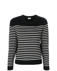 Pull à col rond à rayures horizontales noir et blanc RED Valentino