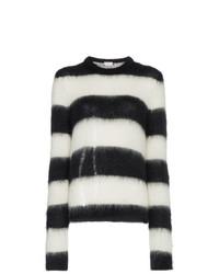 Pull à col rond à rayures horizontales noir et blanc Saint Laurent